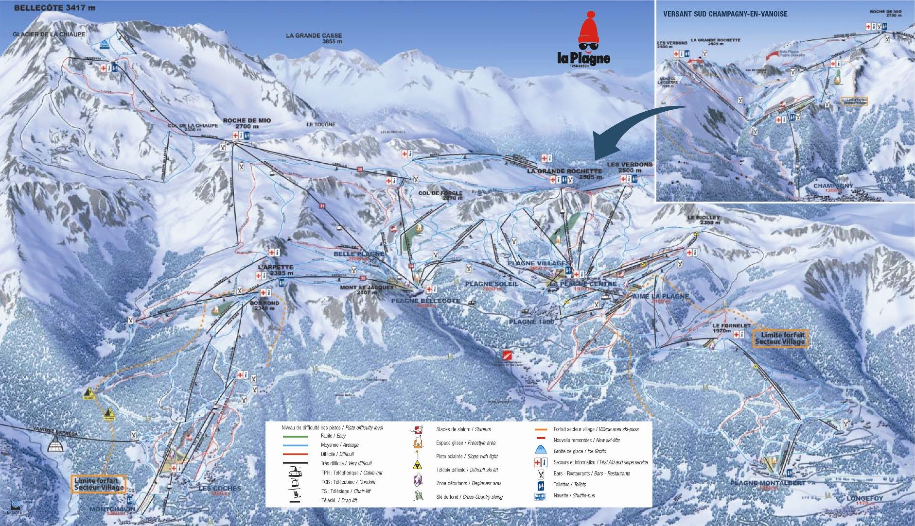 Champagny en Vanoise Skigebied Champagny en Vanoise Kaart